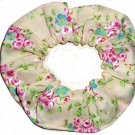 Pink Blue Floral Flowers Cream Fabric Hair Scrunchie Scrunchies by Sherry
