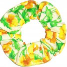 Green Yellow Flowers Floral Cream Fabric Hair Ties Scrunchie Scrunchies by Sherry