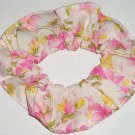 Pink Yellow Floral Flowers Cream Fabric Hair Scrunchie Scrunchies by Sherry