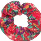 Turquoise Floral Red Fabric Hair Ties Scrunchie Scrunchies by Sherry