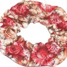 Brown Pink Floral Flowers Fabric Hair Scrunchie Scrunchies by Sherry