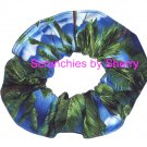 Tropical Palm Trees & Clouds Blue Fabric Hair Scrunchie Scrunchies by Sherry