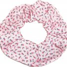 Pink Tiny Floral Flowers Pink Fabric Hair Tie Scrunchie Scrunchies by Sherry