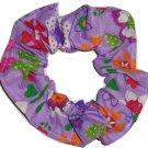 Purple Floral Flowers Fabric Hair Scrunchie Ties Scrunchies by Sherry