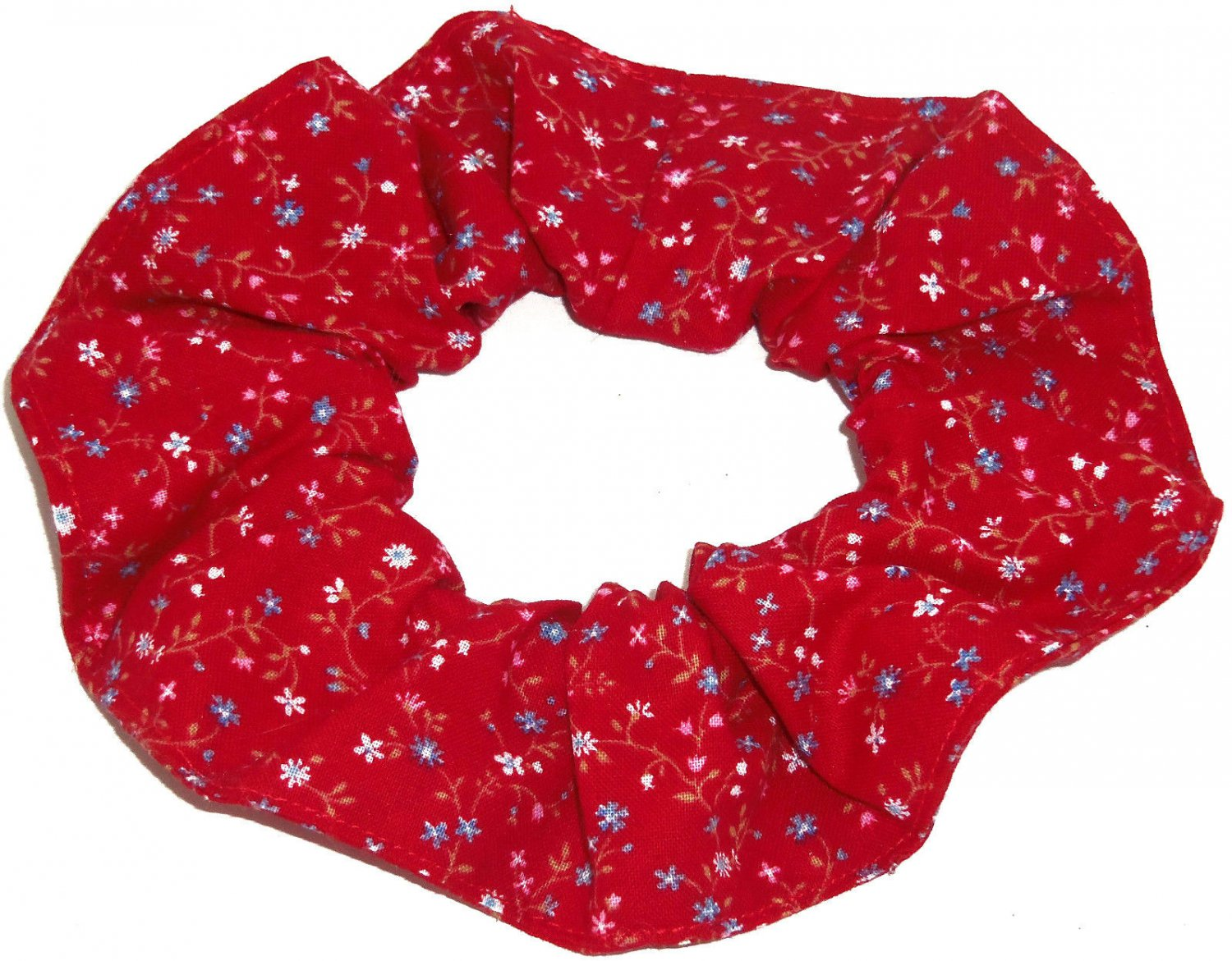 Tiny Floral Flowers Red Fabric Hair Scrunchie Scrunchies by Sherry