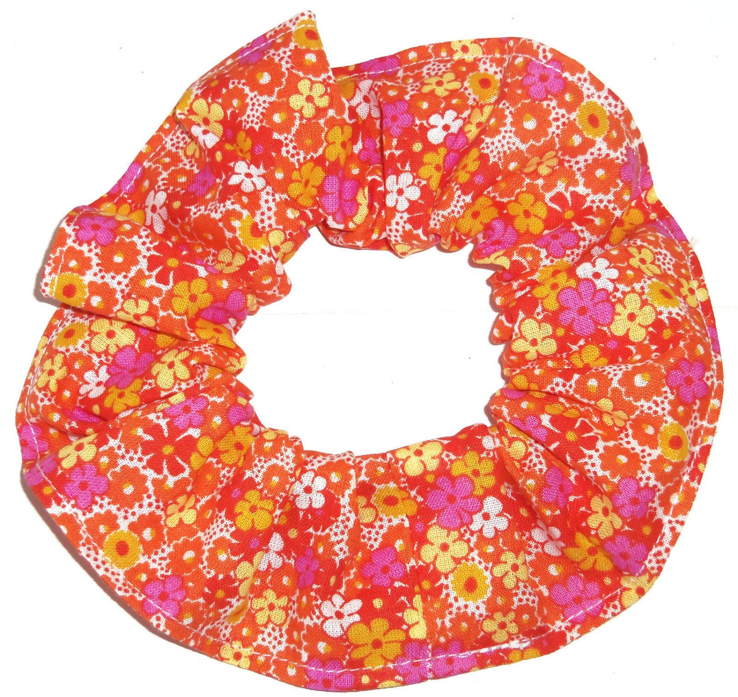Pink Yellow Orange Tiny Floral Flowers Fabric Hair Scrunchie Tie Scrunchies by Sherry
