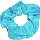Turquoise Silver Metallic Foil Spandex Hair Scrunchie Scrunchies by Sherry Fabric Dancewear New