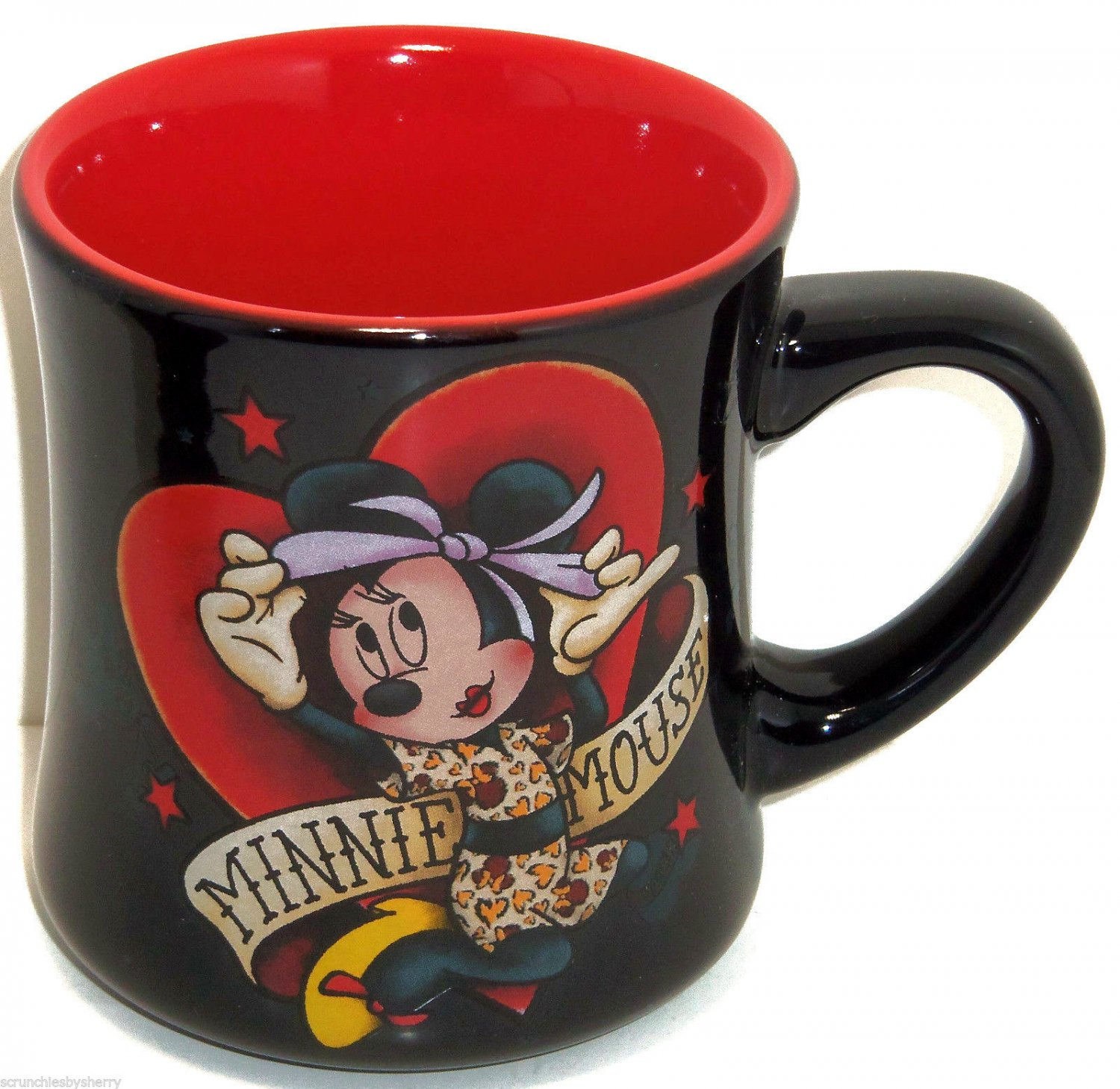 Disney Minnie Mouse Hearts Coffee Mug Cup Black Red Valentines Theme Parks New