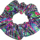 Purple Blue Hair Scrunchie Metallic Sequin Dots Rainbow Tie Ponytail Scrunchies by Sherry