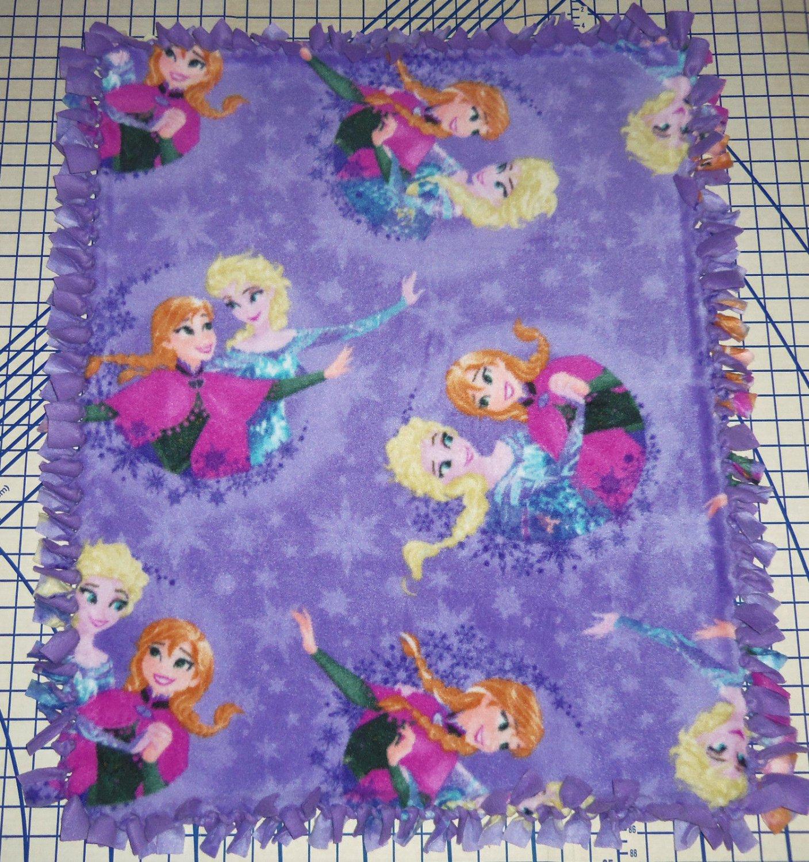 "Disney Frozen Anna Elsa Purple Fleece Baby Blanket Pet Lap 24"" x 30"""