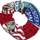 President Obama Patchwork Fabric Hair Scrunchie Tie Scrunchies by Sherry