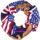 Flags with Eagles Patriotic Fabric Hair Scrunchie Scrunchies by Sherry
