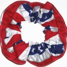 Red, White & Blue Flag Fabric Hair Scrunchie Scrunchies by Sherry