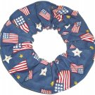 Red, White & Blue Flag Denim Fabric Hair Scrunchie Scrunchies by Sherry