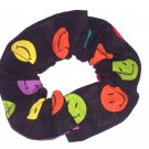Happy Faces Black Fabric Hair Scrunchie Scrunchies by Sherry