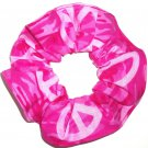 Pink Camo Peace Signs Fabric Hair Scrunchie Scrunchies by Sherry