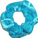 Turquoise Camo Peace Signs Fabric Hair Scrunchie Scrunchies by Sherry