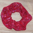Red Metallic Star Search Spandex Hair Scrunchie Fabric Scrunchies by Sherry