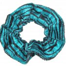 Teal Green Black Panne Velvet Fabric Hair Scrunchie Scrunchies by Sherry