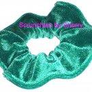 Green Bejeweled Glitter Spraking Velvet Fabric Hair Scrunchie Scrunchies by Sherry