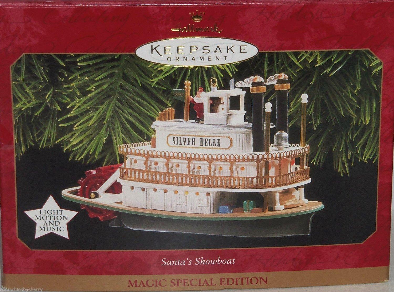 Hallmark Ornament Santas Steamboat Magic Lights Holiday 1997 Music Jingle Bells