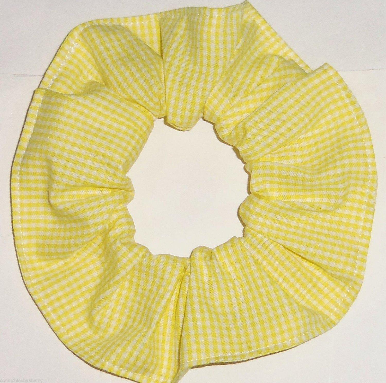 Yellow White Tiny Gingham Fabric Hair Scrunchie Scrunchies