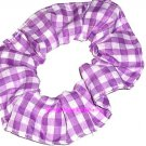 Purple White Medium Gingham Fabric Hair Scrunchie Scrunchies