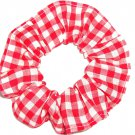 Red White Medium Gingham Fabric Hair Scrunchie Scrunchies