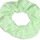 Green White Tiny Gingham Fabric Hair Scrunchie Scrunchies