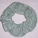 Dark Green White Tiny Gingham Fabric Hair Scrunchie Scrunchies