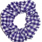 Purple White Small Gingham Fabric Hair Scrunchie Scrunchies