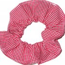 Red White Tiny Gingham Fabric Hair Scrunchie Scrunchies