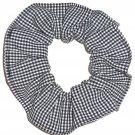 Black White Tiny Gingham Fabric Hair Scrunchie Scrunchies