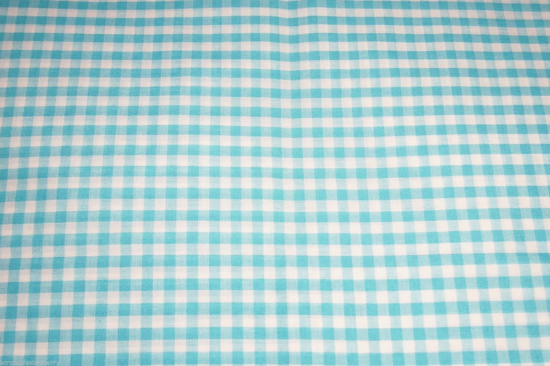 Aqua Turquoise White Small Gingham Fabric Hair Scrunchie Scrunchies