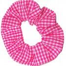 Pink White Small Gingham Fabric Hair Scrunchie Scrunchies