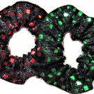Glitter Metallic Sequins Square Hair Scrunchie Scrunchies by Sherry Red Green Set of 2