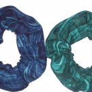 Coral Reef Ocean Blue Green Fabric Hair ScrunchieTie Scrunchies by Sherry Lot of 2 New