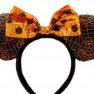 Disney Minnie Mouse Halloween Ear Headband Orange Black Sequins Bow Theme Parks