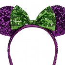 Disney Minnie Mouse Halloween Ear Headband Purple Green Sequins Bow Theme Parks