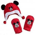 Disney Store Mickey Mouse Hat and Mittens Set Red Baby New 0-6 Months