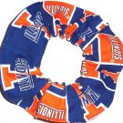 University of Illinois Fabric Hair Scrunchie Scrunchies by Sherry NCAA