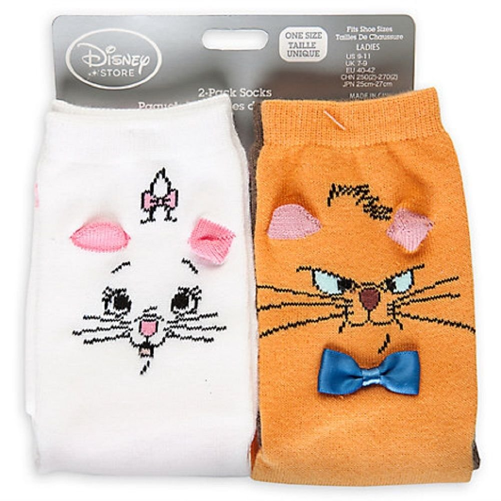 Disney Store Aristocats Marie Toulouse Socks for Women - 2-Pack Fits Shoe Sizes 5-10 New