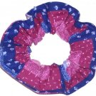 Blue Pink Purple Patchwork Fabric Hair Scrunchie Scrunchies by Sherry Ties Ponytail Holder