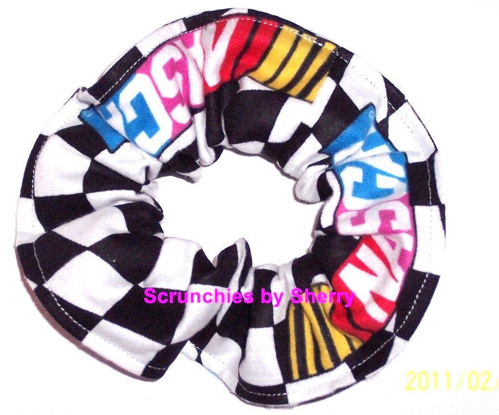 NASCAR Wavey Checkered Flag Fabric Hair Tie Scrunchie Scrunchies by Sherry