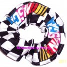 NASCAR Wavey Checkered Flag Fabric Hair Tie Scrunchie Scrunchies by Sherry