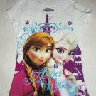 Disney Frozen Elsa Anna T-Shirt Shirt White Girls Size 7/8