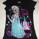 Disney Frozen Elsa Snow Queen T-Shirt Shirt Black Girls Size 7-8
