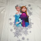 Disney Frozen Elsa Anna Snowflake  T-Shirt Shirt White Girls Size 10/12