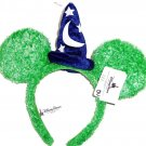 Disney Minnie Mouse Ears Headband Green with Sorcerer Hat Fuzzy Theme Parks New