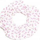 Tiny Pink Prints on White Fabric Hair Scrunchie Ties Scrunchies by Sherry